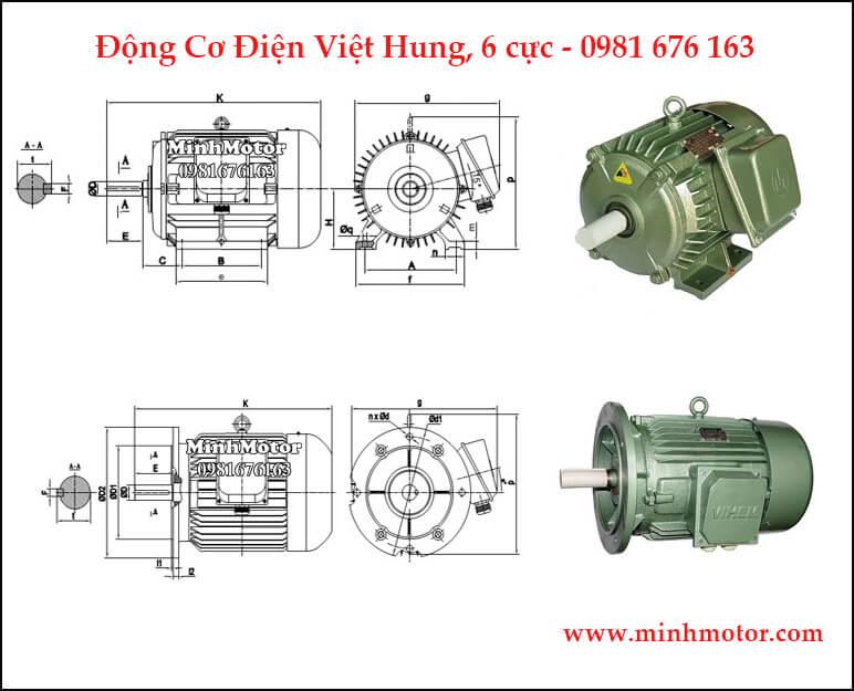 Kích thước bản vẽ motor Việt Hung 3 pha, 6 cực (960 vòng phút)
