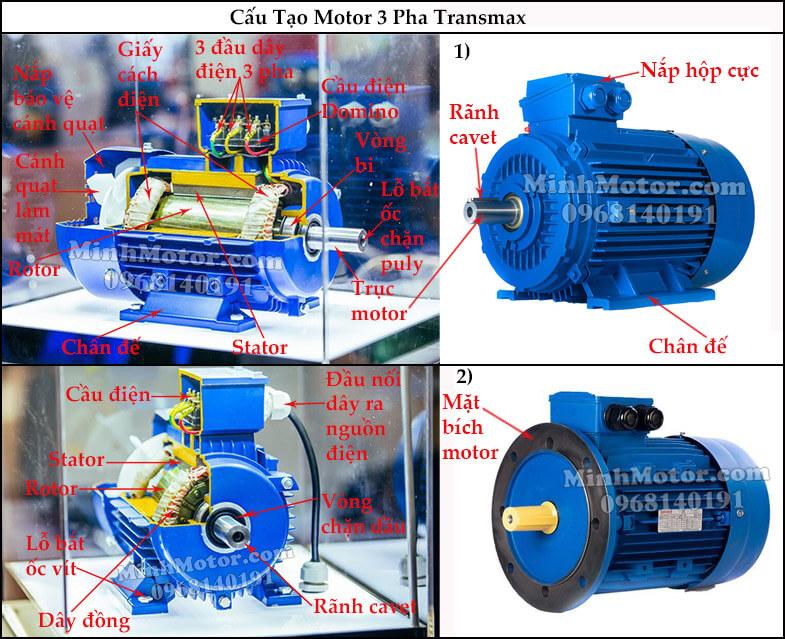 Cấu tạo motor Transmax 380v 3 pha