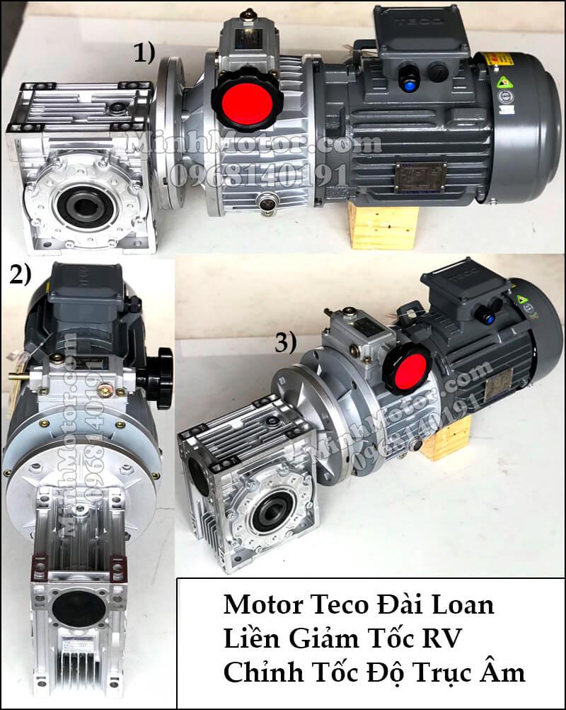 Motor Teco Đài Loan liên giảm tốc RV chỉnh tốc độ trục âm