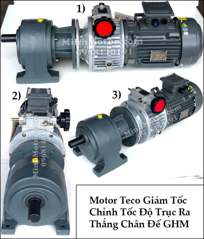Motor Teco giảm tốc chỉnh tốc độ trục ra thẳng, chân đế GHM