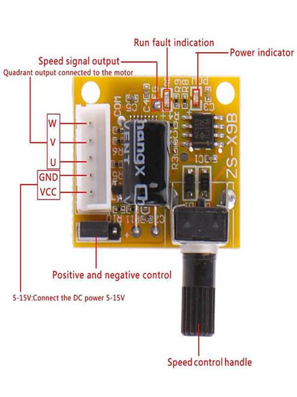 Mạch điều khiển tốc độ động cơ BLDC DC 5V-12V 2A 15W