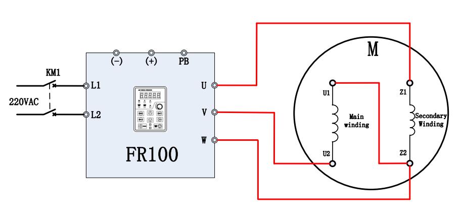 Sơ đồ đấu dây chạy theo chiều thuận khi sử dụng biến tần