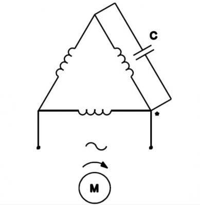 Kết nối tụ điện với động cơ điện đấu nối theo hình tam giác