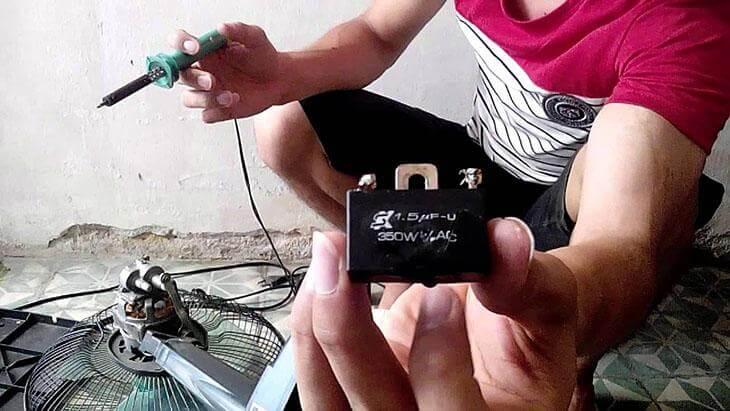 Tụ điện trong motor của quạt điện