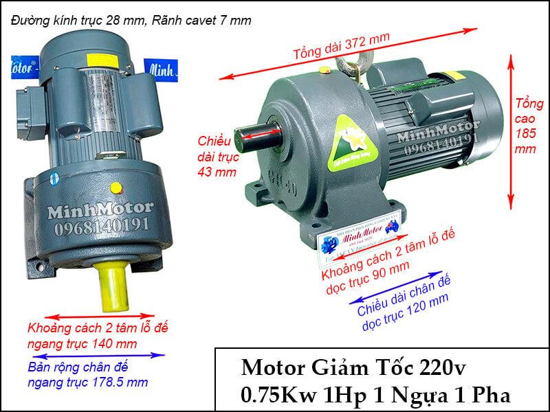 bản vẽ motor GHC 0.75kw 1Hp