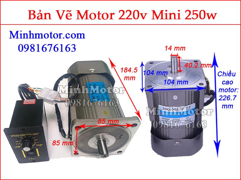 Bản vẽ motor mini 250w