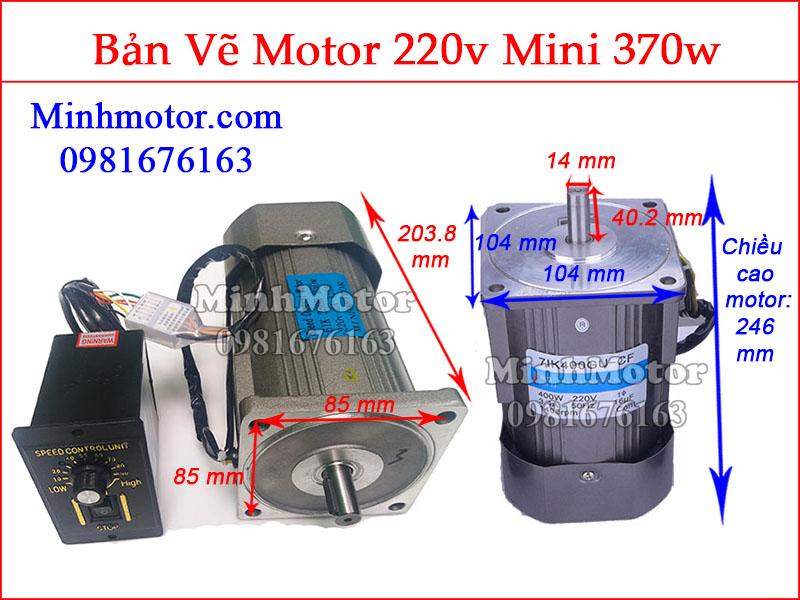 Bản vẽ motor mini 370w