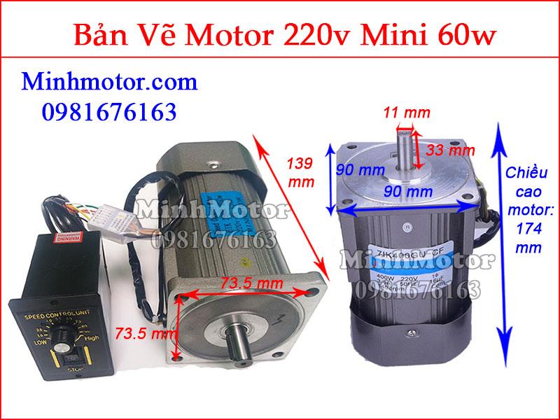 Bản vẽ motor mini 60w