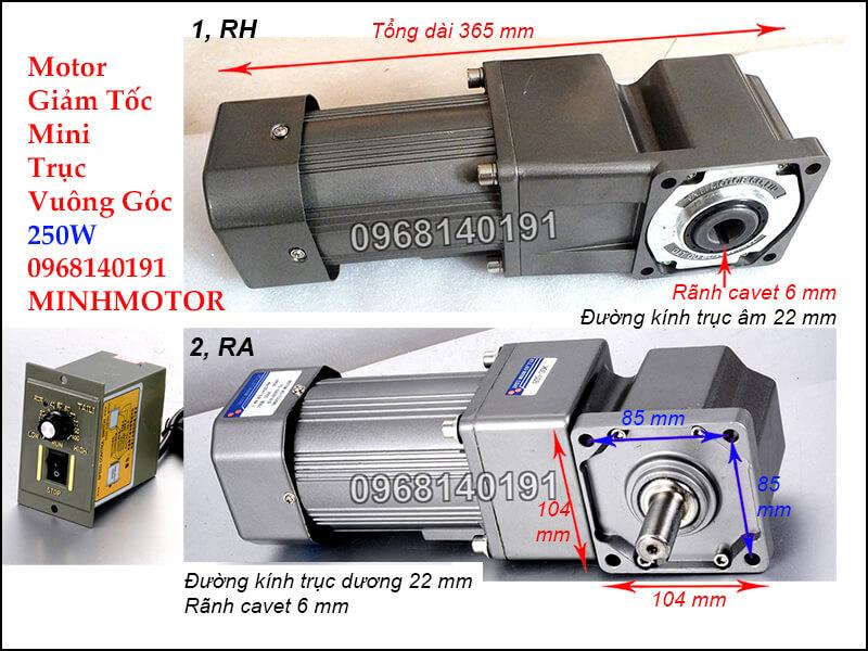 bản vẽ motor giảm tốc mini trục vuông góc 250w
