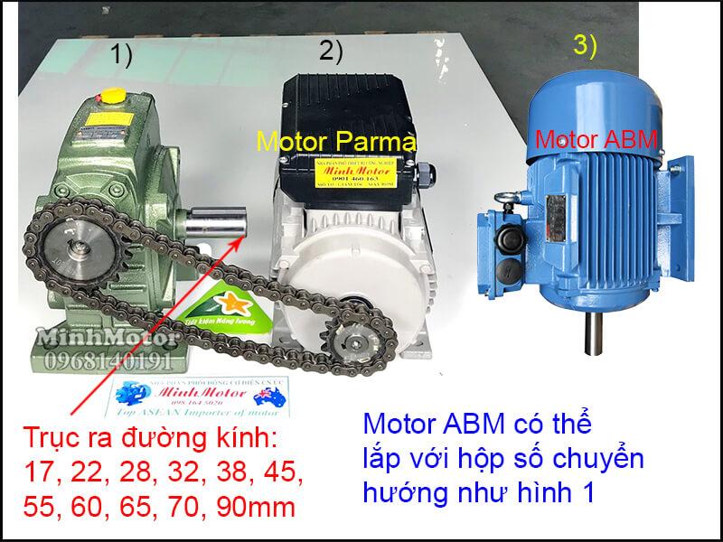 Động cơ điện ABM lắp đặt nhông xích