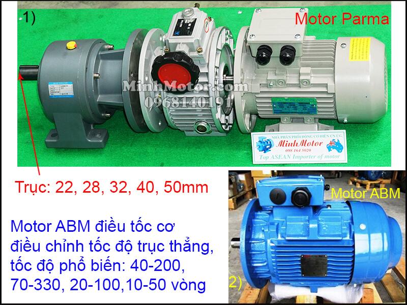 Động cơ giảm tốc ABM mặt bích chỉnh tốc độ