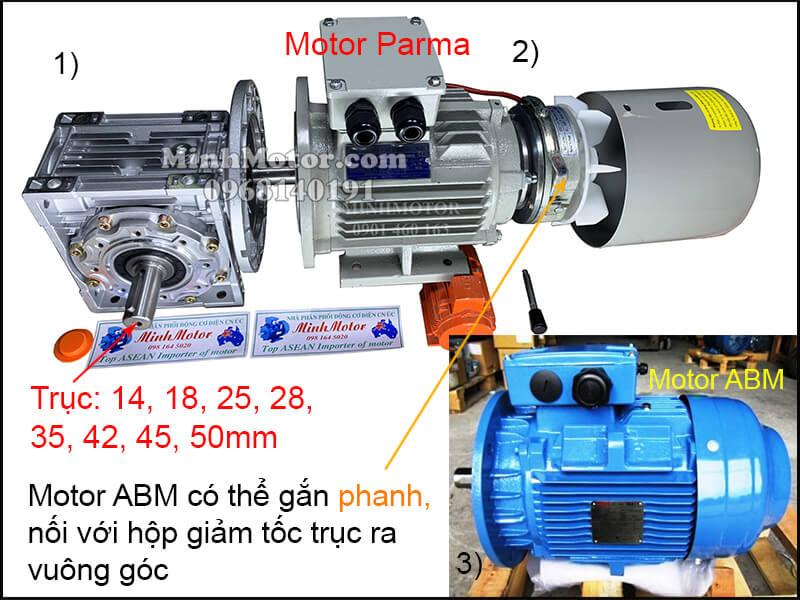 Vận hành động cơ giảm tốc ABM 3 pha 220v