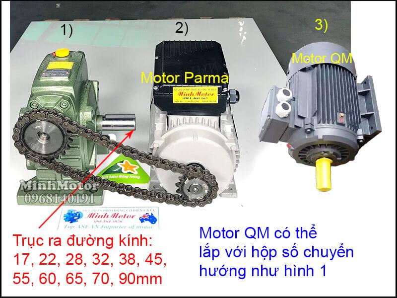 Động cơ QM lắp đặt nhông xích