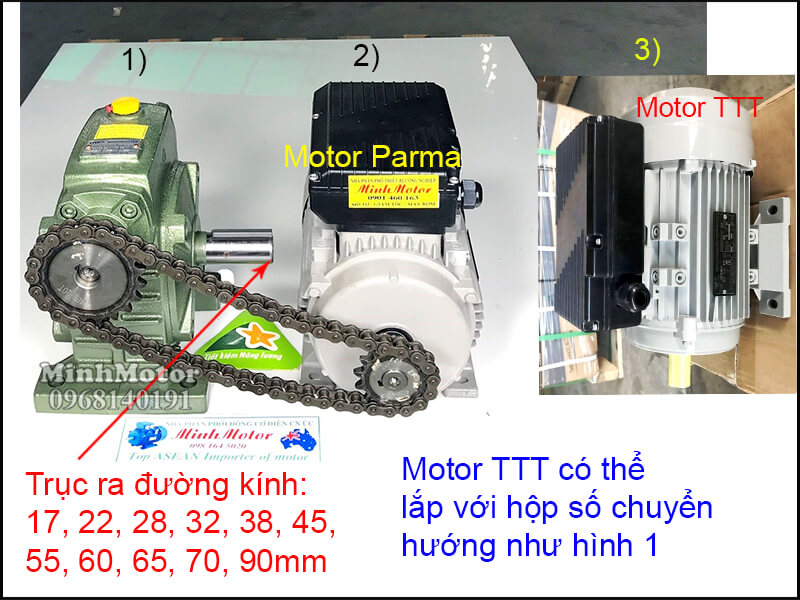 Động cơ TTT lắp đặt nhông xích