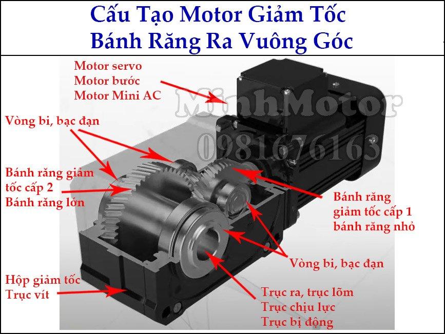 ấu tạo motor mini Hàn Quốc trục ra vuông góc