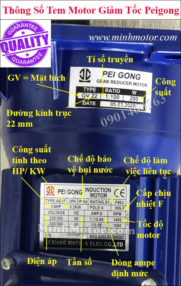 Thông số kỹ thuật Motor Peigong trên tem