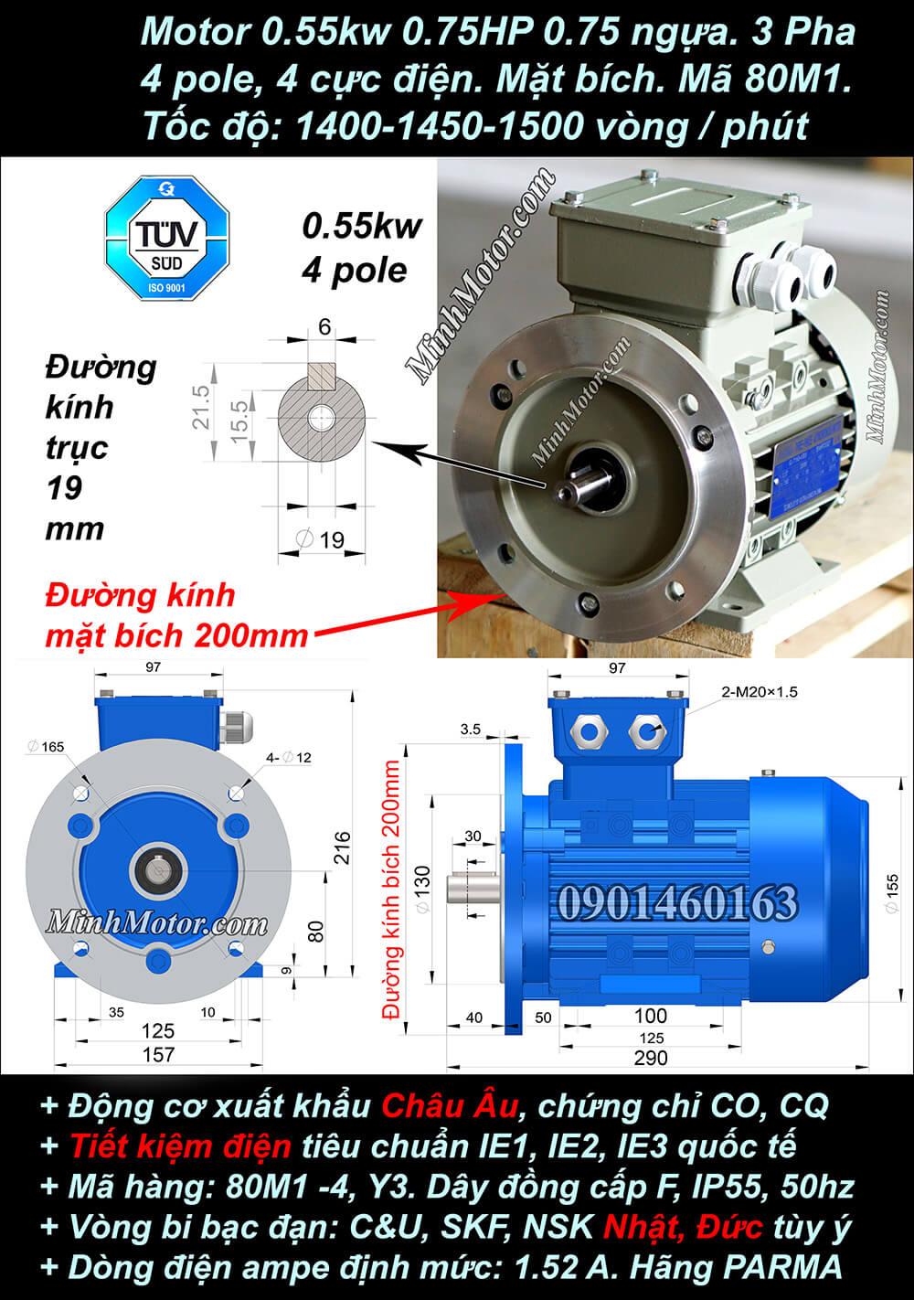 Bản vẽ motor mặt bích 0.55kW 0.75HP 0.75 Ngựa 4 Cực