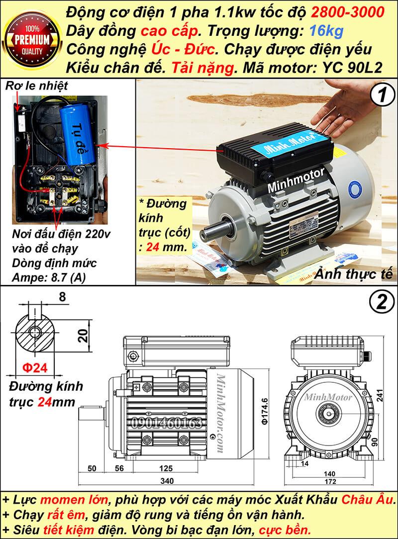 Motor 1.1kw 1 pha YC tải nặng nhanh tua chân đế