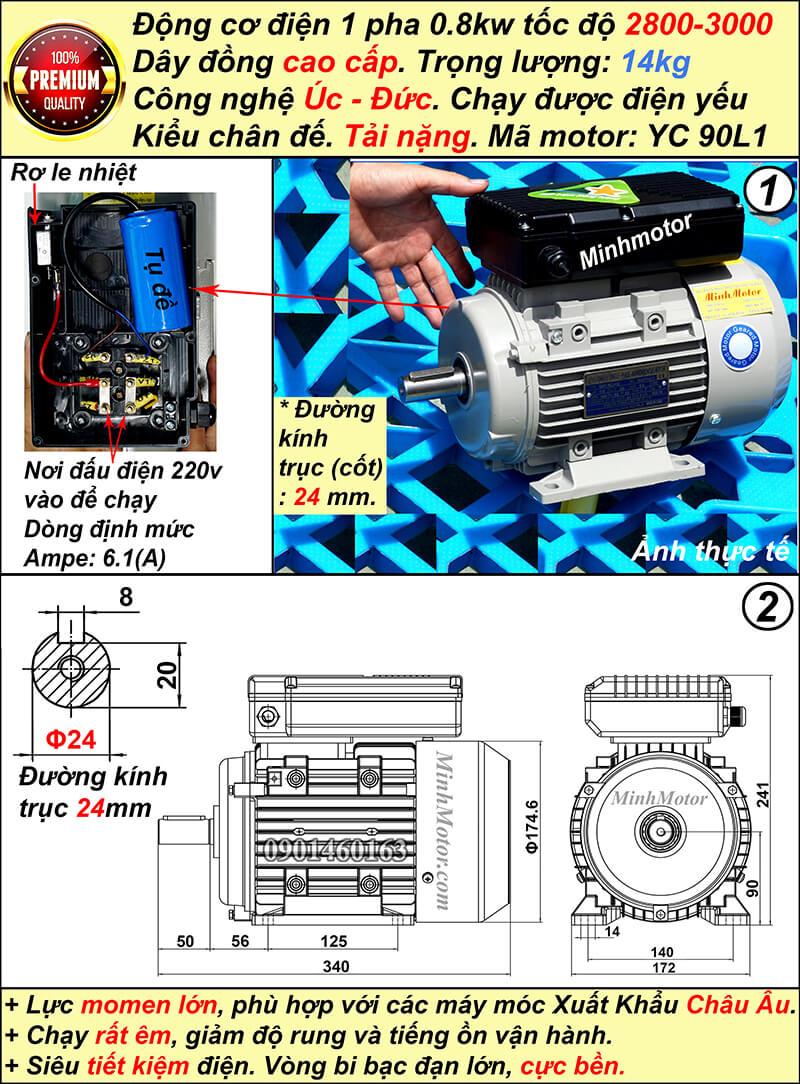 Motor 1 pha 0.75kw 1HP YC tải nặng nhanh tua chân đế