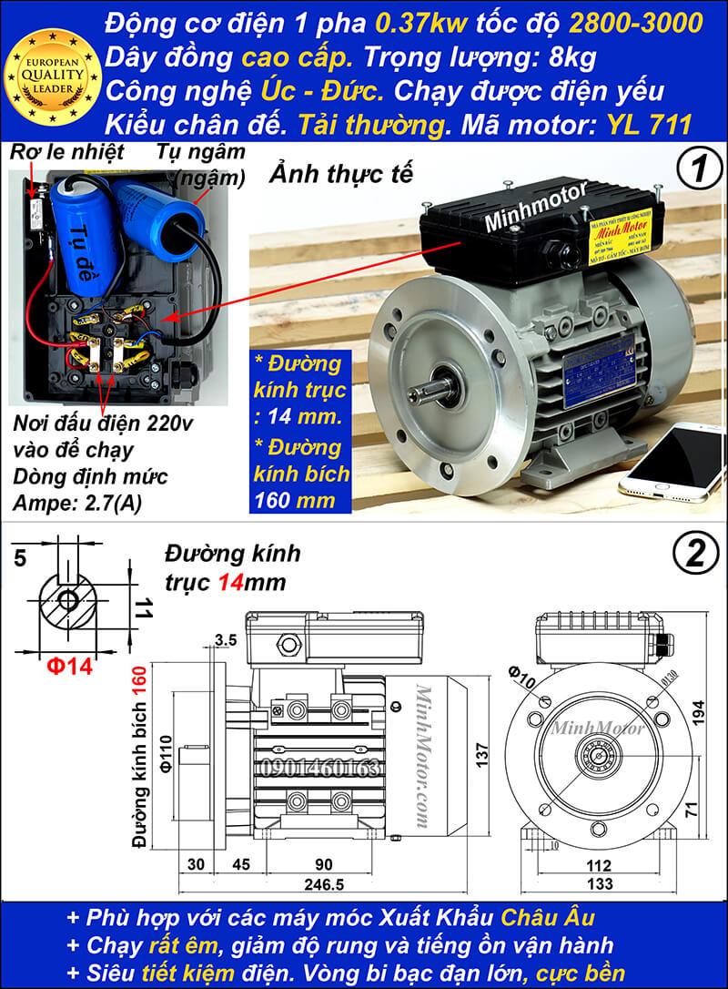 Motor điện 1 pha 0.5HP YL tải thường 2 cực bích