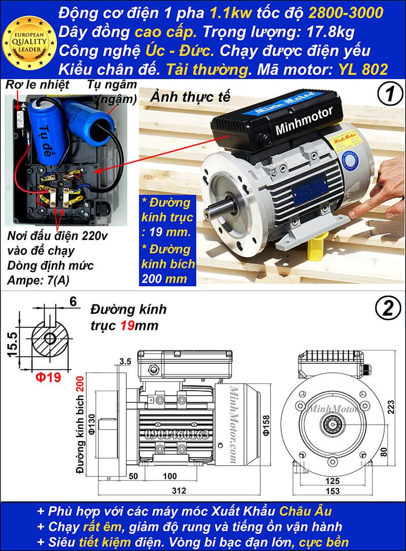 Motor 1.1kw 1 pha 1.5hp YL tải thường 2 cực bích