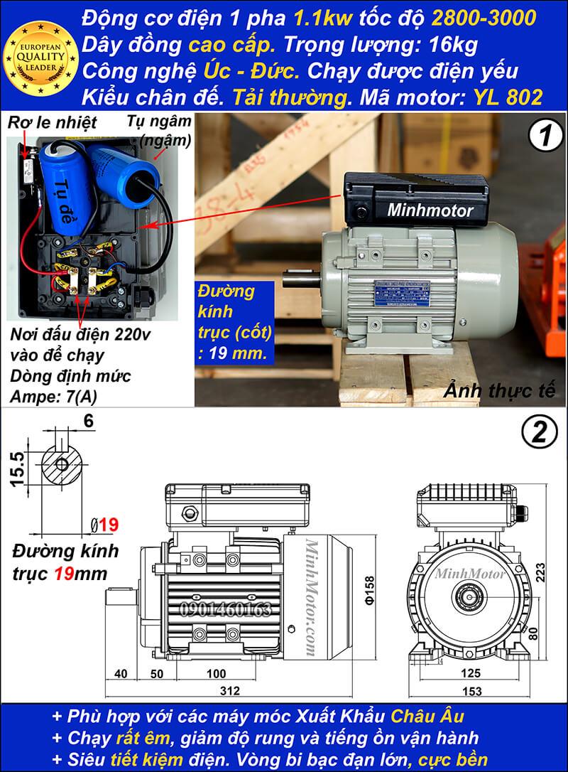 Motor 1.1kw 1 pha 1.5hp YL tải thường tua nhanh 2 cực chân đế