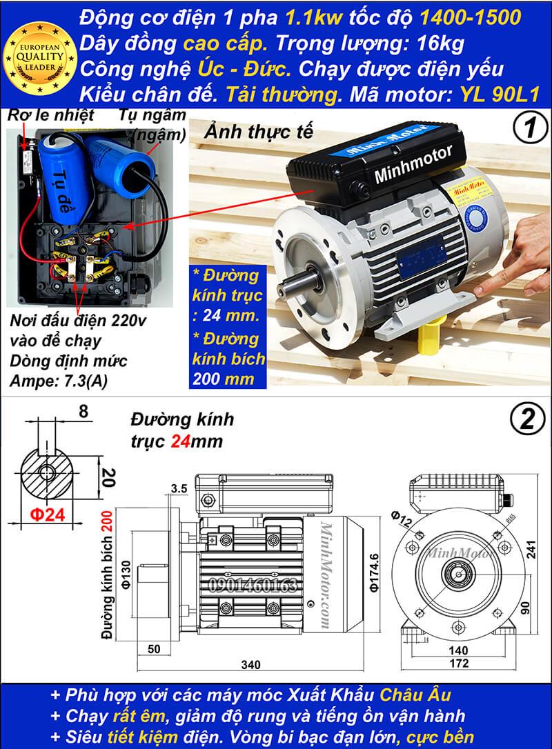 Motor 1.5hp 220v 1.1kw YL tải thường 4 Pole bích