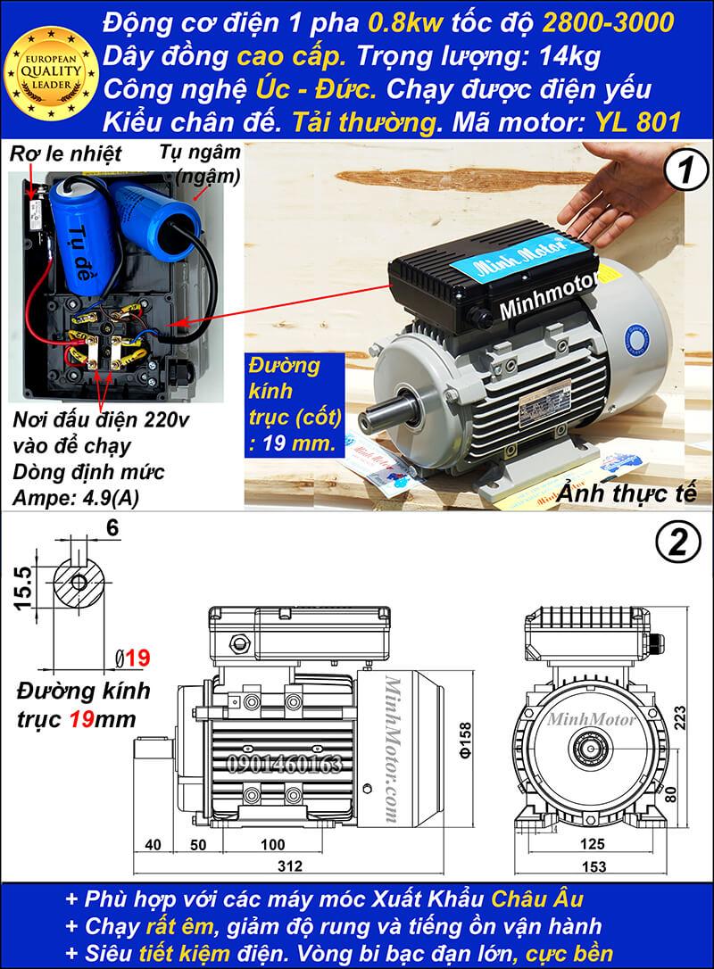 Motor 220v 0.75kw 1HP YL tải thường 2 cực chân đế