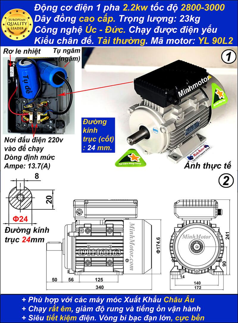 Motor 1 pha3HP YL tải thường tua nhanh 2 cực chân đế