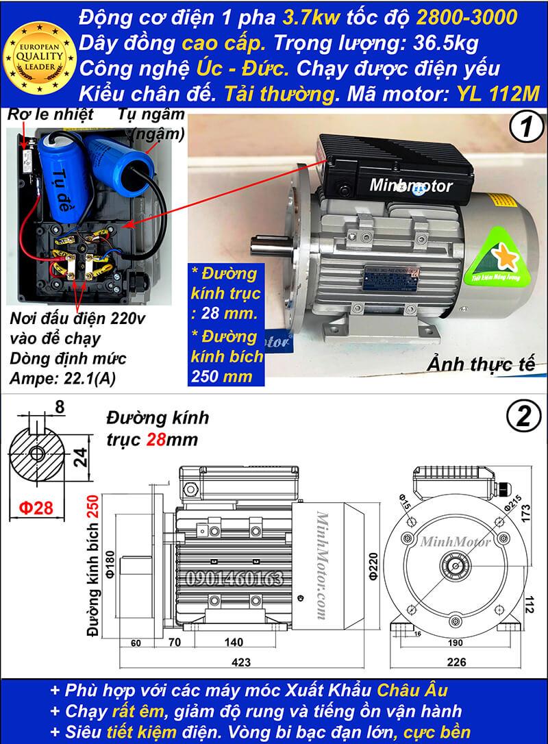 Kích thước motor 1 pha5hp 3.7kw YL tải thường 2 cực bích