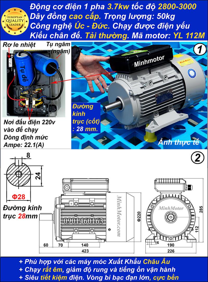 Motor 1 pha5hp YL tải thường tua nhanh 2 cực chân đế