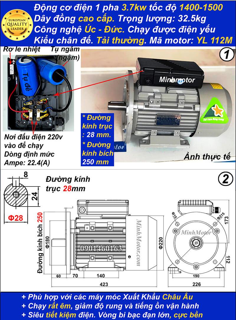 Motor 220v 5hp 3.7kw 220vYL tải thường 4 Pole bích