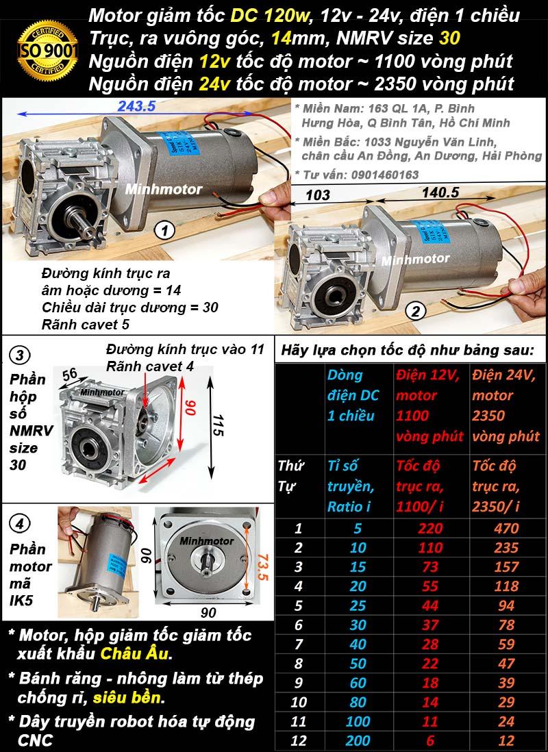 Motor DC 120w 12v 24v trục vuông góc, NMRV30
