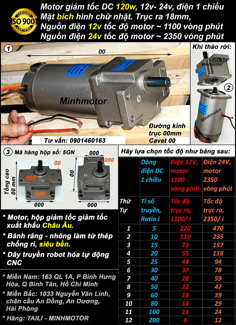 Motor 24v 120w 12v DC mặt bích