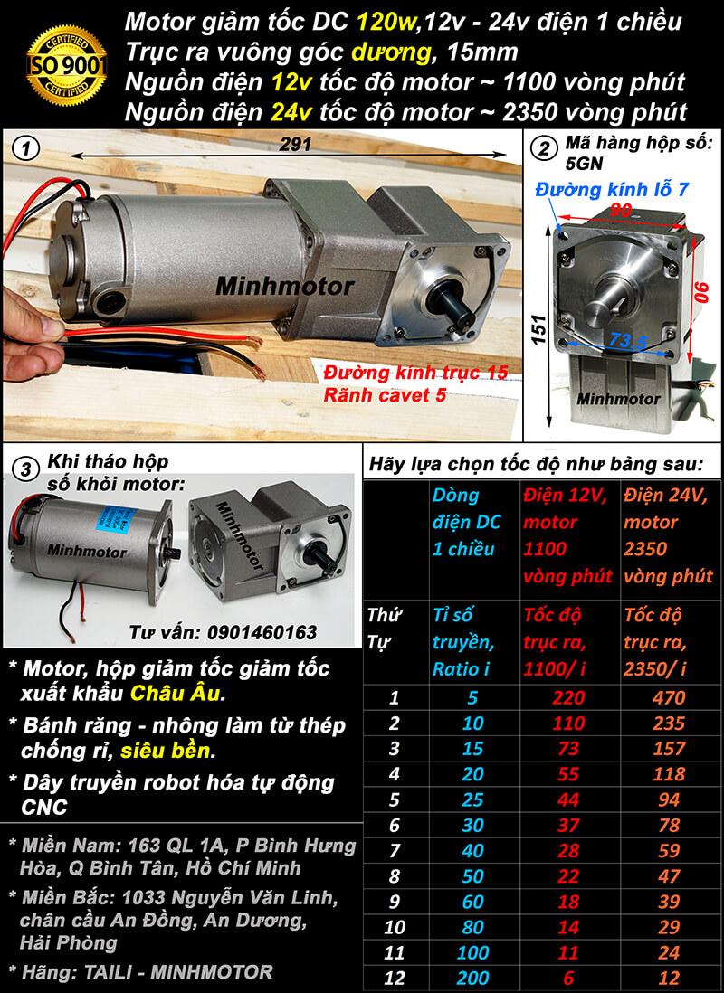 Motor DC 120w trục vuông góc cốt dương