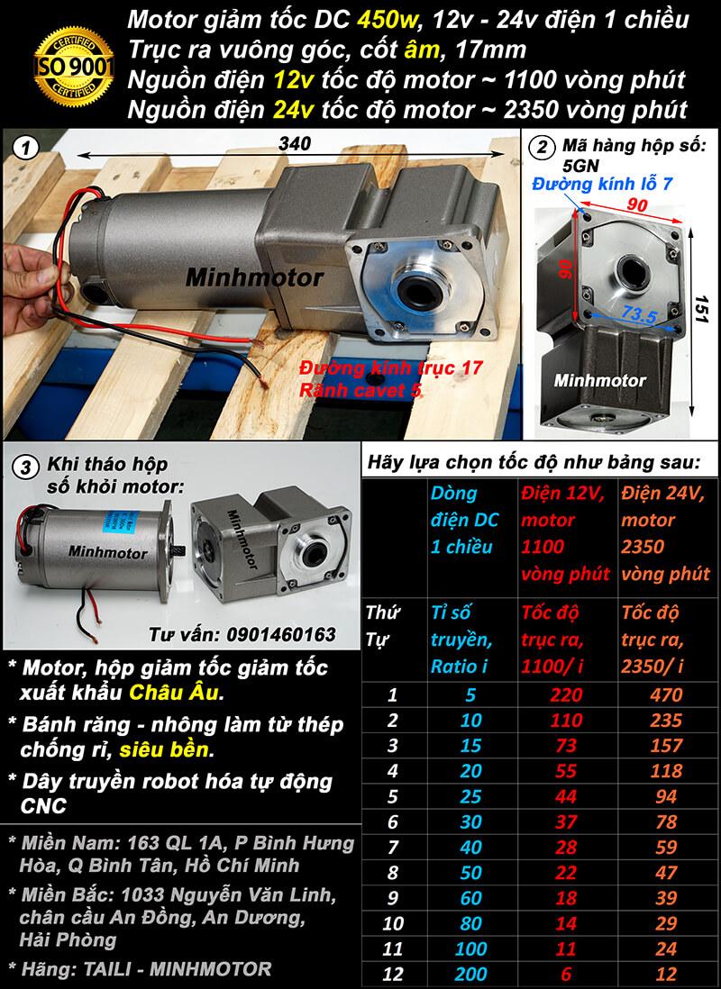 Motor DC 450w trục vuông cốt âm