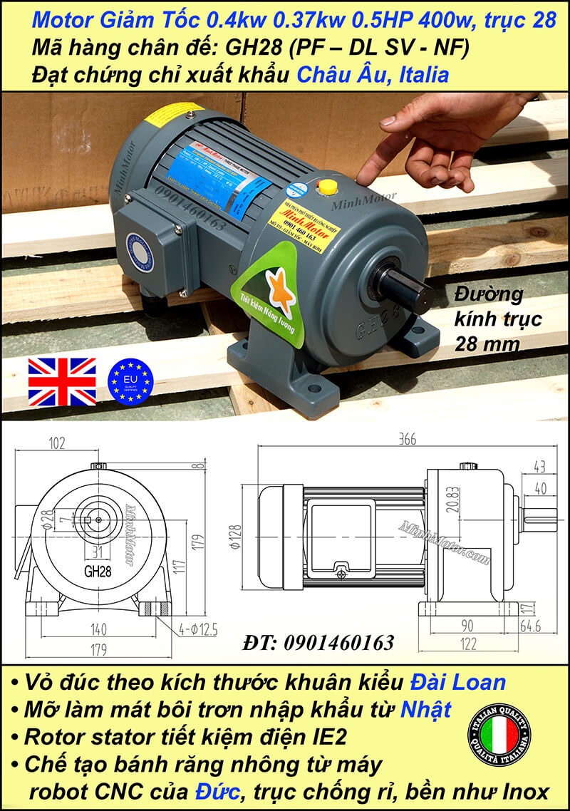 Động cơ giảm tốc 0.4kw 0.5hp 1/50 trục thẳng 28 mm chân đế