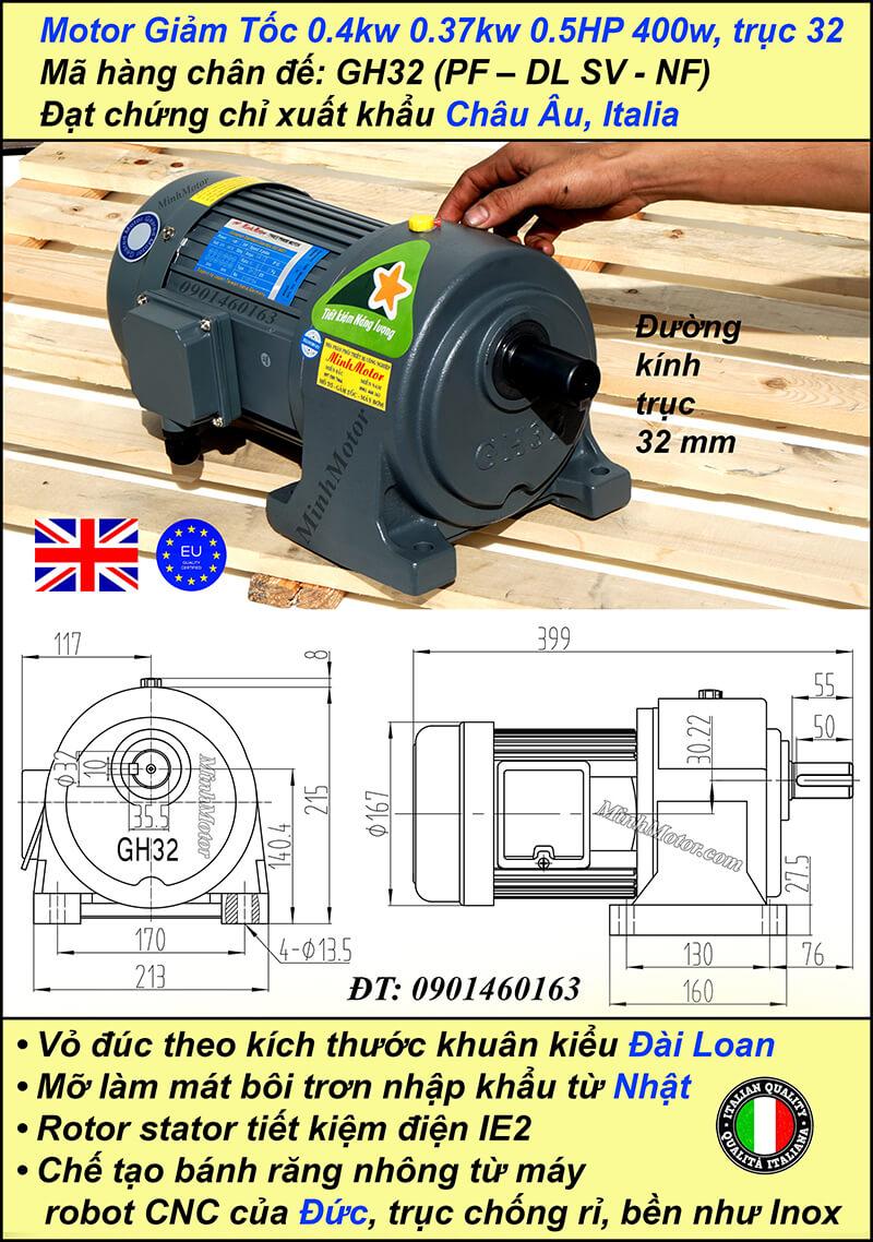 Kích thước motor giảm tốc chân đế 0.37 kw 0.5 hp 1/30 ratio 30 trục 32