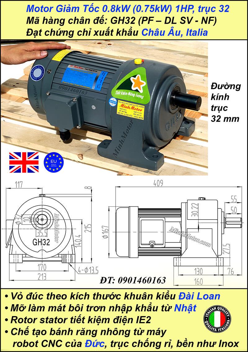 Động cơ giảm tốc 1HP 0.75kw 1/120 trục 32mm chân đế