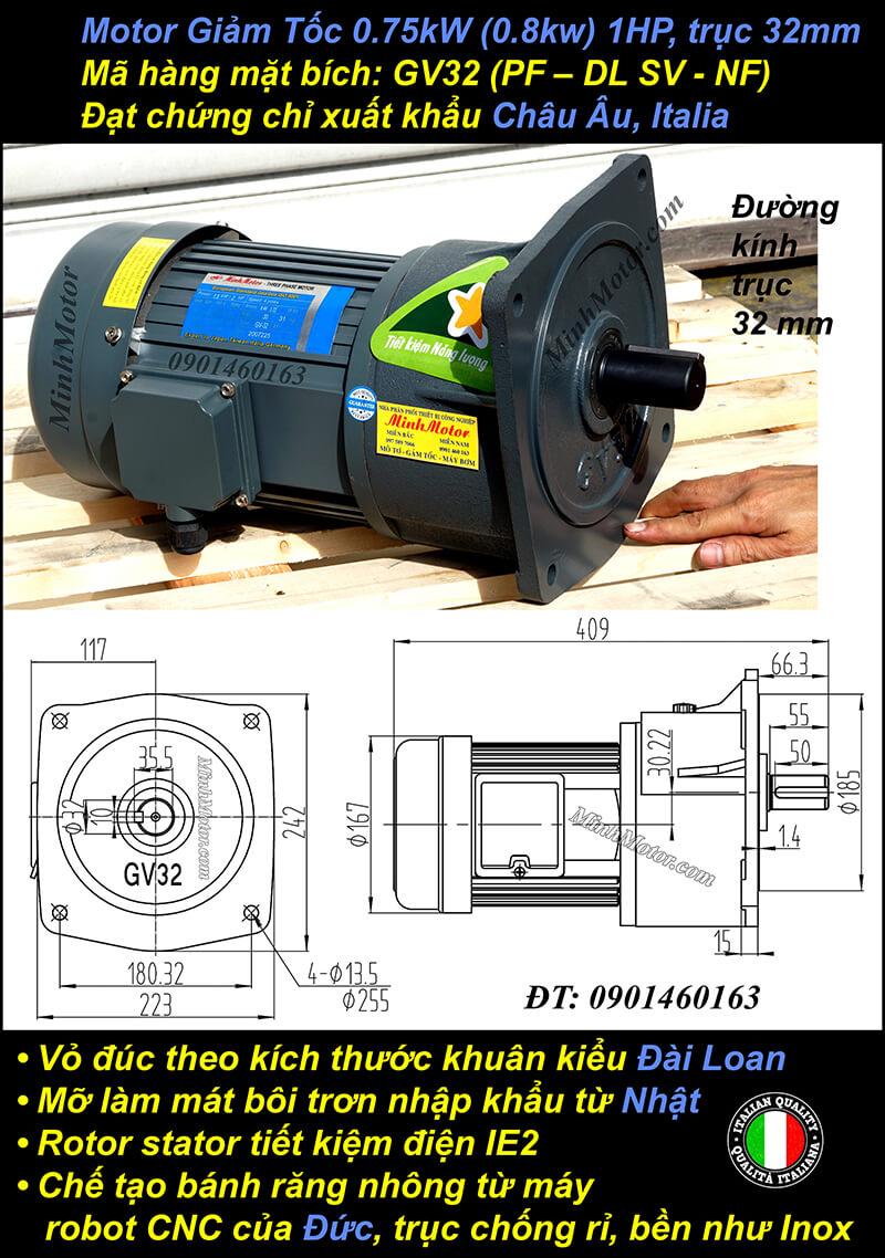Động cơ giảm tốc 0.75kw 1HP 1/120 trục 32mm mặt bích