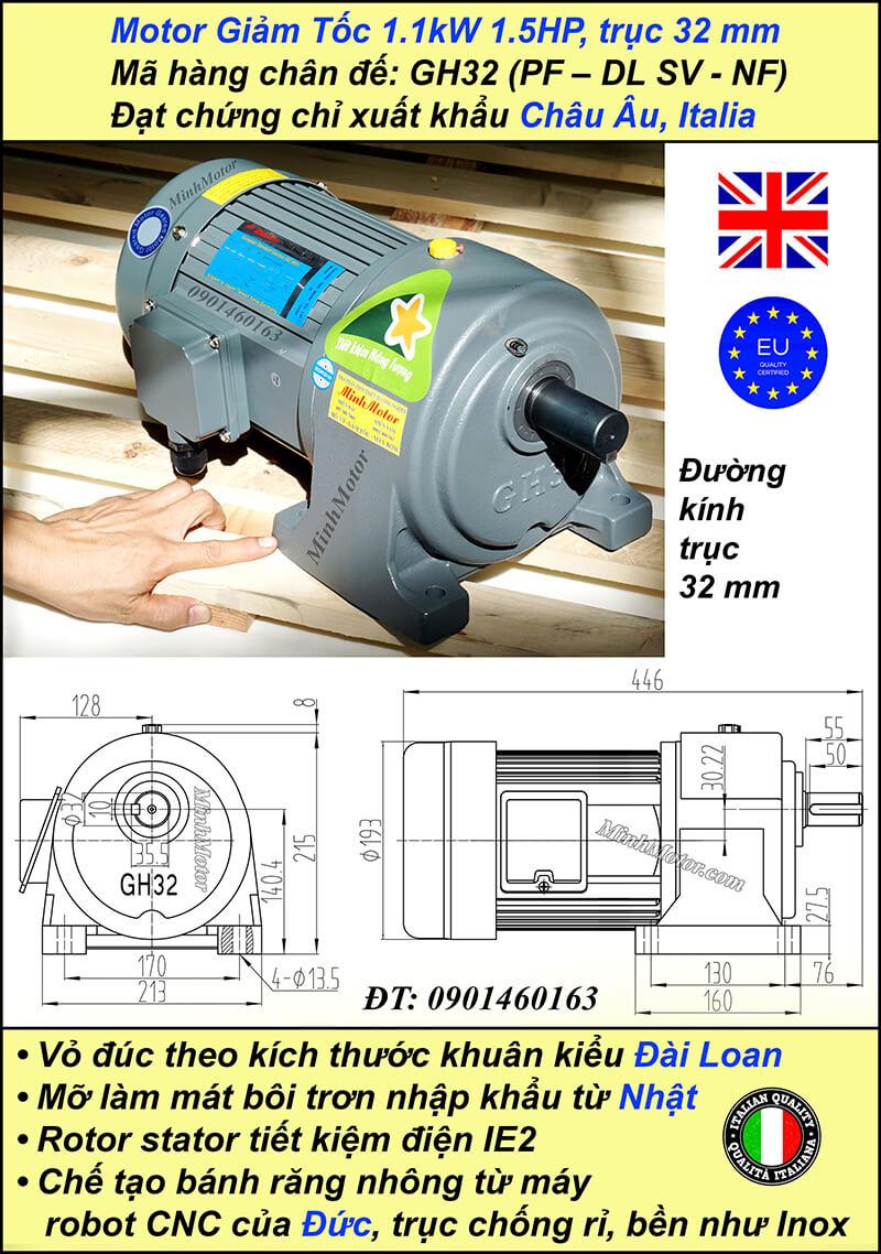 Động cơ giảm tốc 1.1kw 1.5Hp 1/20, trục 32 mm chân đế