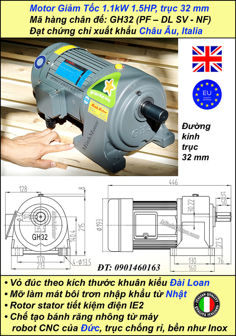 Động cơ giảm tốc 1.1kw 1.5Hp 1/50, trục 32 mm chân đế
