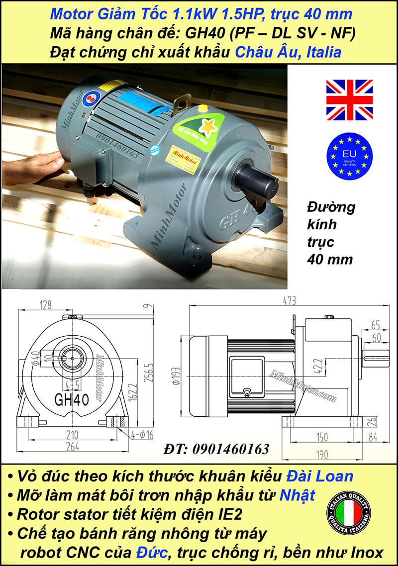Kích thước motor giảm tốc chân đế1.1 kw 1.5 hp 1/60 ratio 60 trục 40