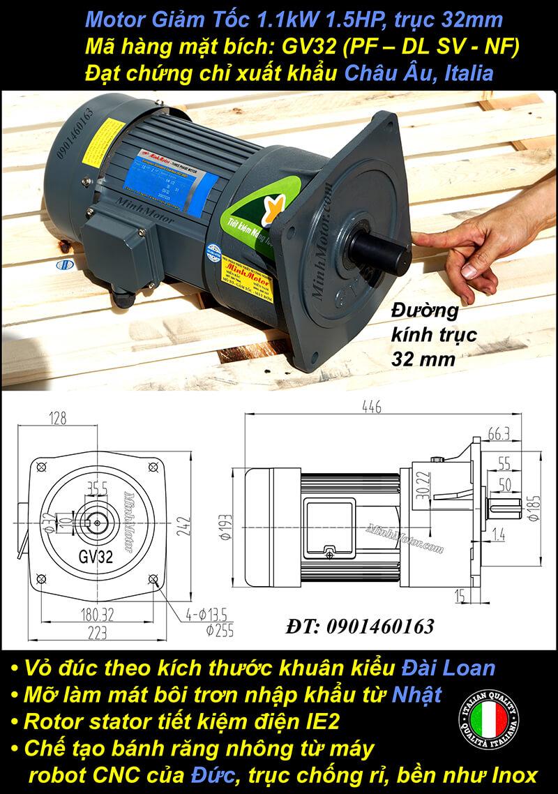 Kích thước motor giảm tốc mặt bích 1.1 kw 1.5 hp 1/60 ratio 60 trục 32