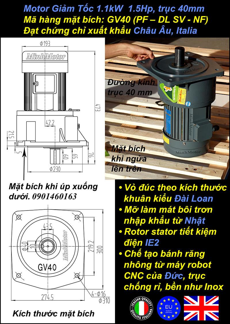 Kích thước motor giảm tốc mặt bích1.1 kw 1.5 hp 1/60 ratio 60 trục 40