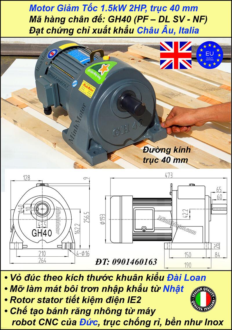 Động cơ giảm tốc 2Hp 1.5kw 1/100 trục 40 mm chân đế