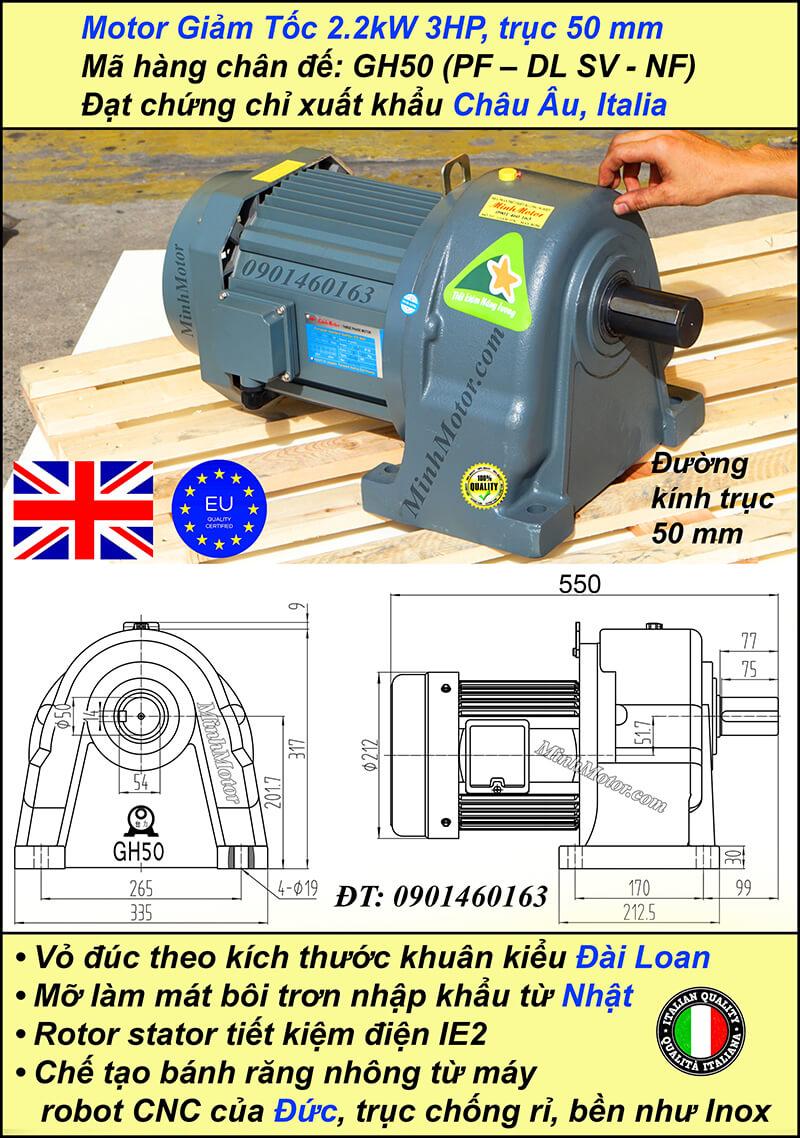 Motor giảm tốc 2.2kw 3HP tỷ số truyền 5 trục 50 mm chân đế