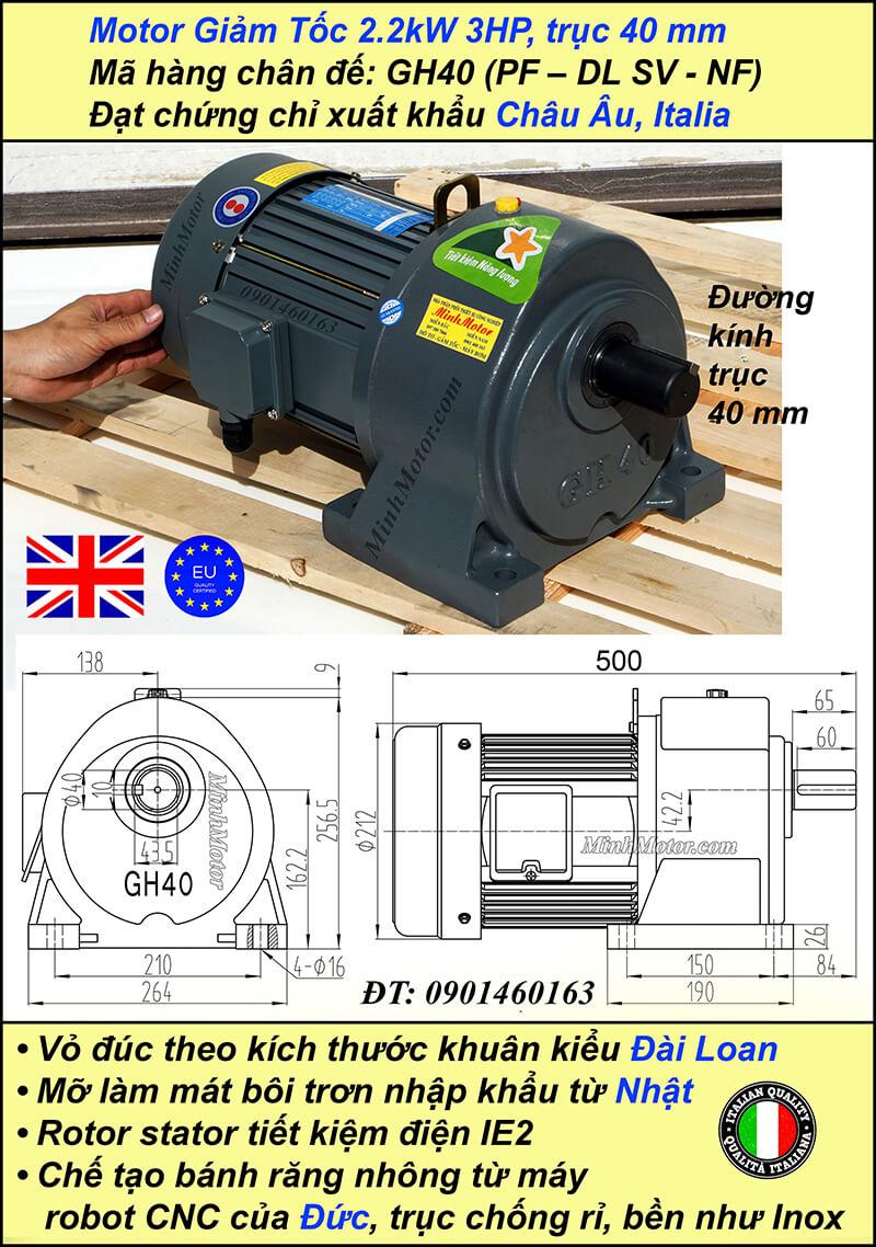 Động cơ giảm tốc 2.2kw 3HP 1/10, trục 40 mm chân đế