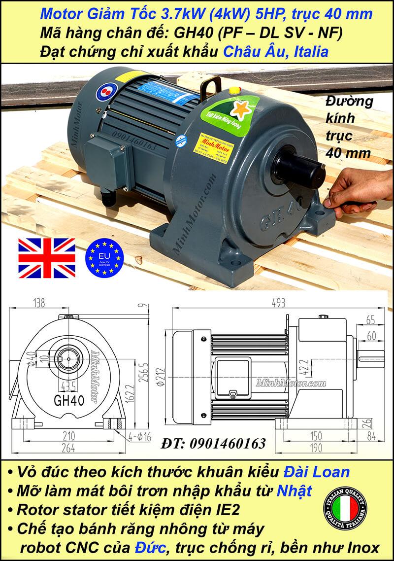 Động cơ giảm tốc 5hp 3.7kw 1/10, trục 40 mm chân đế