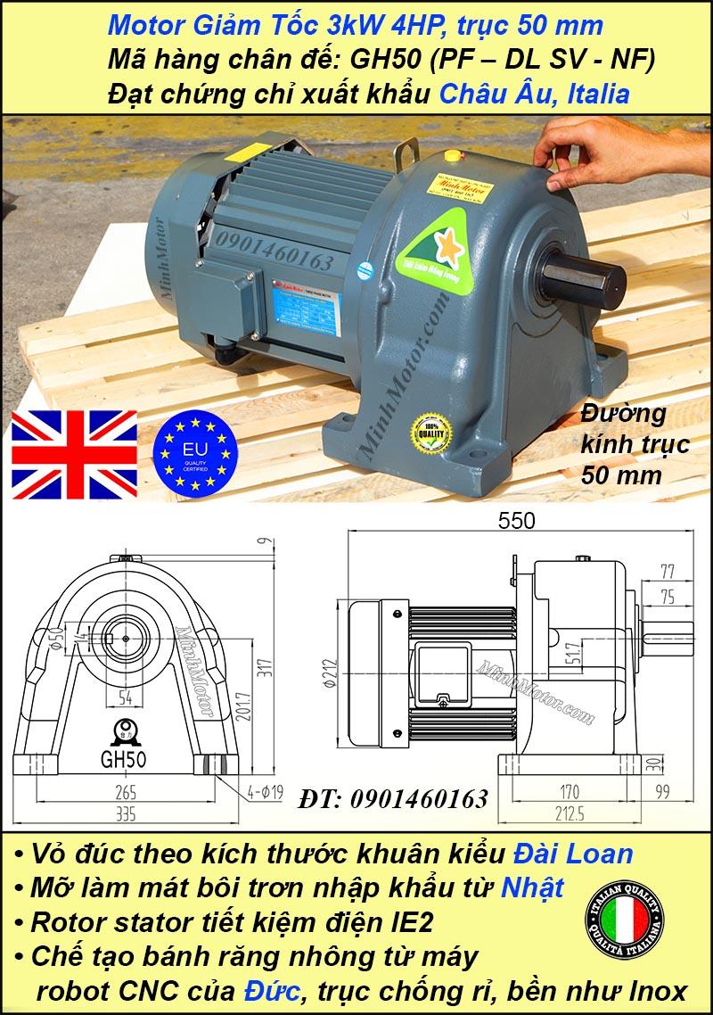 Motor giảm tốc 3kw 4hp tỷ số truyền 30 trục 50 mm chân đế